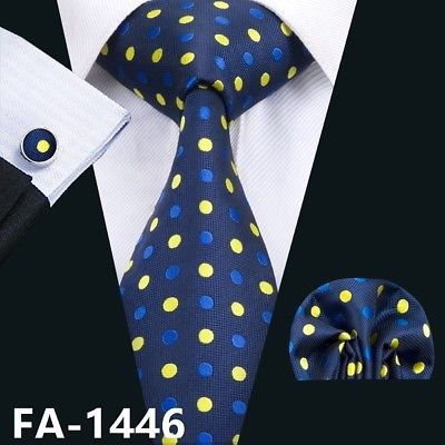 Men's Coordinated Silk Tie Set - Royal Blue with Blue & Yellow Polka Dots