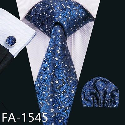 Men's Coordinated Silk Tie Set - Royal Blue & Silver Floral