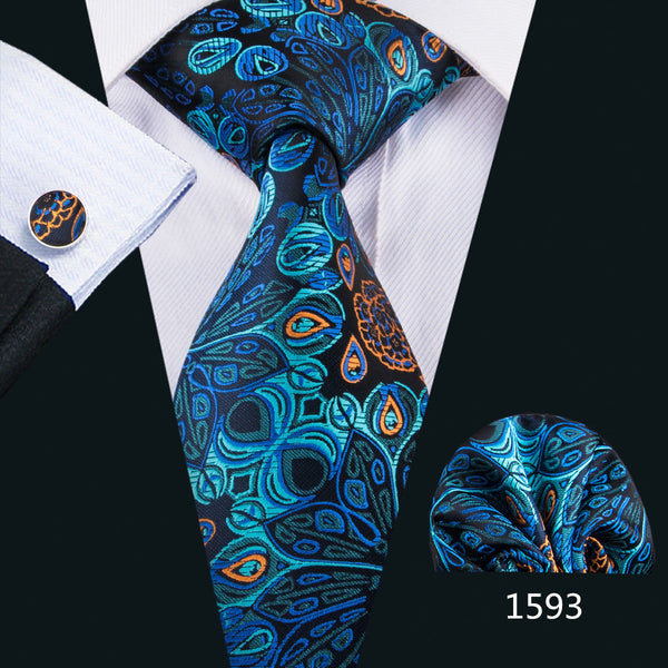 Men's Coordinated Silk Tie Set - Blue, Black, Orange Peacock
