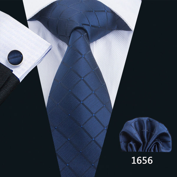 Men's Coordinated Silk Tie Set - Dark Blue Check