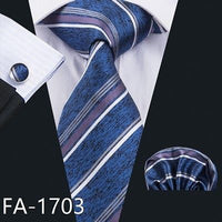 Men's Coordinated Silk Tie Set - Vintage Blue, Purple, White Striped