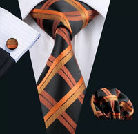Men's Silk Coordinated Tie Set - Orange & Black Stripe