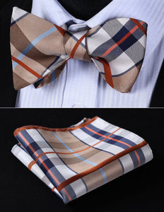 Men's Bow-Tie Set, Beige Brown Check