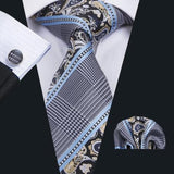 Men's Silk Coordinated Tie Set - Sky Blue, Black, Gold Paisley Stripe