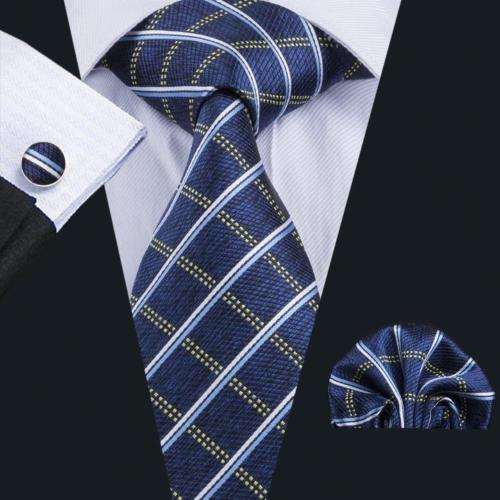 Men's Silk Coordinated Tie Set - Blue Squared Plaid