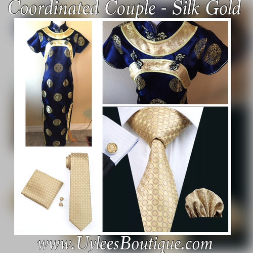 Coordinated Couple - Gold and Blue Ladies Cheongsam Dress  旗袍  & Gold Men's Coordinated Tie Set