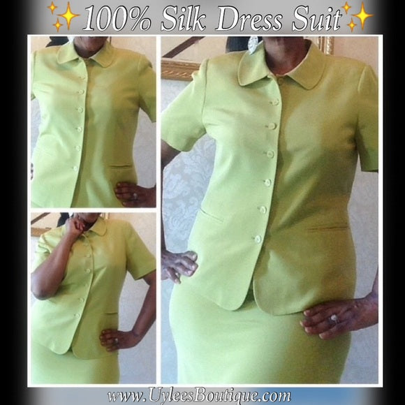 100% Silk ✨Morgan Taylor 2-Piece Silk Dress Suit, US Size 12
