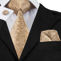 Men's Silk Coordinated Tie Set - Gold Paisely