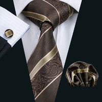Men's Coordinated Silk Tie Set - Brown Stripe Paisley
