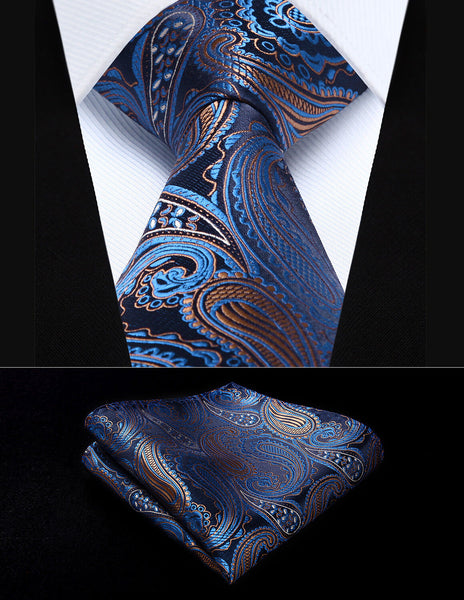 Men's Silk Coordinated Tie Set - Blue Brown Paisley