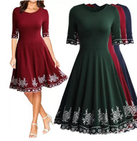 Embroidered Cocktail Dress -  Red Wine, Green and Blue 👗 US Sizes 4 - 14