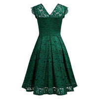 Formal Lace Floral Cocktail Dress, Short Sleeved, Sizes XS - 2XL (US 0 - 18)