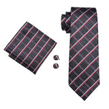 Men's Silk Coordinated Tie Set - Brown and Red Squared Plaid
