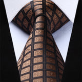 Men's Silk Coordinated Tie Set -  Plaid Brown Check