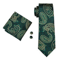 Men's Silk Coordinated Tie Set - Deep Green Paisley