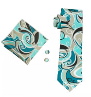 Men's Silk Coordinated Tie Set - Teal & Tan
