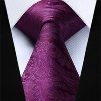 Men's Silk Coordinated Tie Set - Deep Purple Paisley
