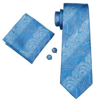 Men's Coordinated Silk Tie Set - Classic Turquoise Paisley