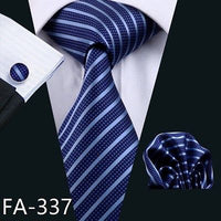 Men's Coordinated Silk Tie Set - Modern Blue Stripe