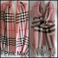 Pashmina (Cashmere) & Silk Plaid Shawls & Wraps - Various Colors