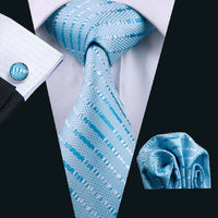 Coordinated Couple - Lace Overlay Formal Sky Blue Dress & Sky Blue Coordinated Silk Tie Set