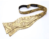 Men's Silk Coordinating Bow Tie Set - Gold Brown Paisley