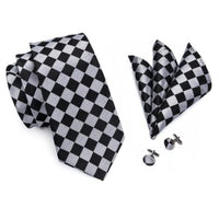 Men's Coordinated Silk Tie Set - Black and Silver Check