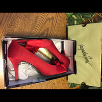 Red Satin Jacqueline Ferrar Heels, Women's US Size 11M