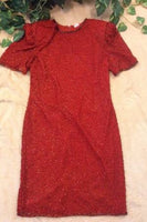 Red Indian Vintage 100% Pure Silk Beaded Dress, Size Medium