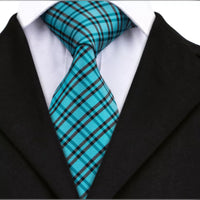 Men's Coordinated Silk Tie Set - Turquoise Plaid