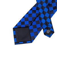 Men's Silk Coordinated Tie Set - Blue & Black Plaid Checks