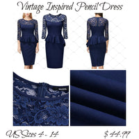 ✨Floral Lace Pencil Dress - Navy Blue, US Sizes  4 - 14