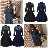 ✨Retro Inspired Lace Dress - Royal Blue, Navy Blue & Black, US Sizes 4 - 16