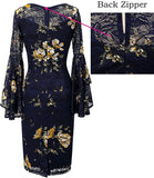 Silk Vintage Japanese Yellow Hand Painted Dress, Size US 6