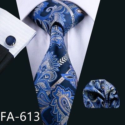 Men's Coordinated Silk Tie Set - Dark Blue & Silver Paisley