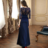Full Length Lace Top Formal Satin Dress, US Sizes 4 - 16