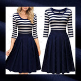 ✨ Retro Inspired Striped Pleated Dress, US Sizes 4 - 14