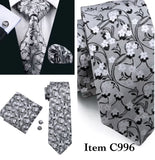 ✨ Coordinated Men's Silk Tie Set - Silver Floral