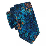 ✨ Coordinated Men's Silk Tie Set - Peacock Blue