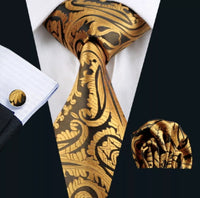 ✨ Coordinated Men's Silk Tie Set - Classic Gold Paisley
