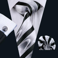 Men's Silk Coordinated Tie Set - Black and White Swirl