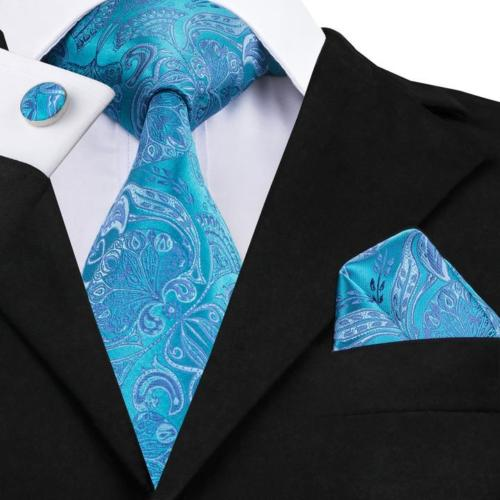 Men's Silk Coordinated Tie Set - Turquoise Paisley