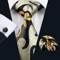 Men's Silk Tie Sets - Beige, Black & Orange Jacquard