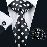 Men's Silk Coordinated Tie Set - Black with White Polka Dots