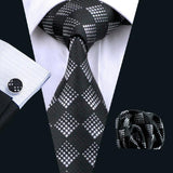 Men's Silk Coordinated Tie Set - Black and White Check