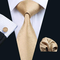 Men's Silk Coordinated Tie Set - Classic Solid Gold