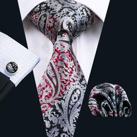 Men's Silk Coordinated Tie Set - Red, Black & Silver Paisley