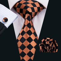Men's Coordinated Silk Tie Set - Black and Orange Check