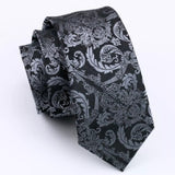 ✨ Coordinated Men's Silk Tie Set - Black & Gray Paisley