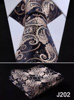 Men's Tie Set - Beige Black Paisley